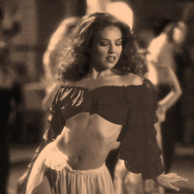 Thalia - dancing in Julio Iglesias' music video at a ranchero in Bogota, Columbia
